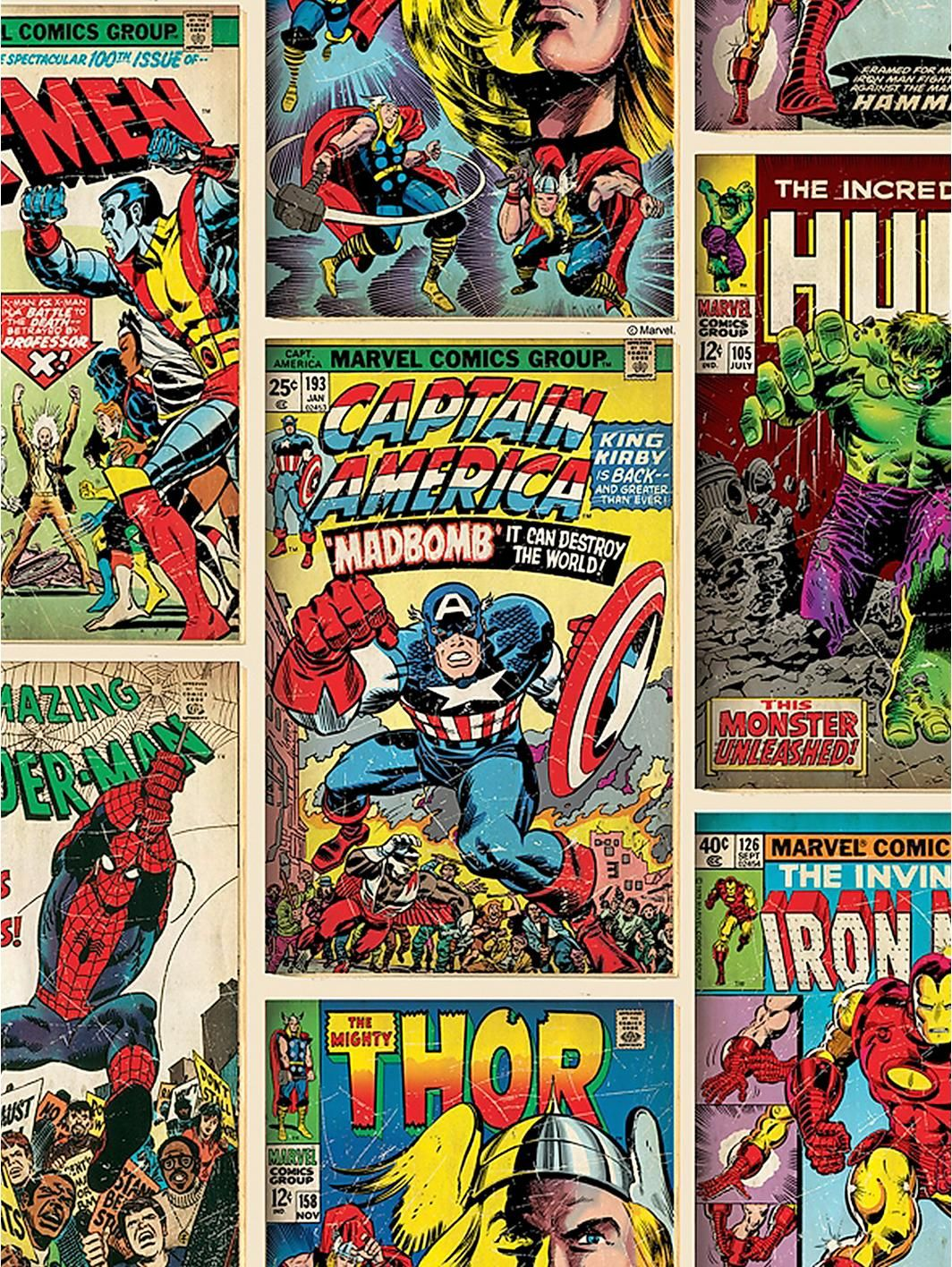 Marvel Graham & Brown Comics Strip Wallpaper - Multi ... Vintage Comic Book Background