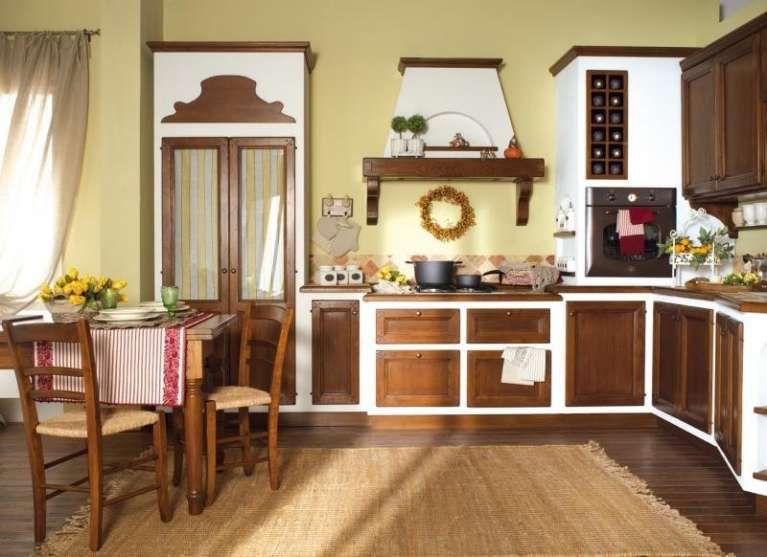 Cucine in finta muratura - Cucina bianca e marrone   Kitchens