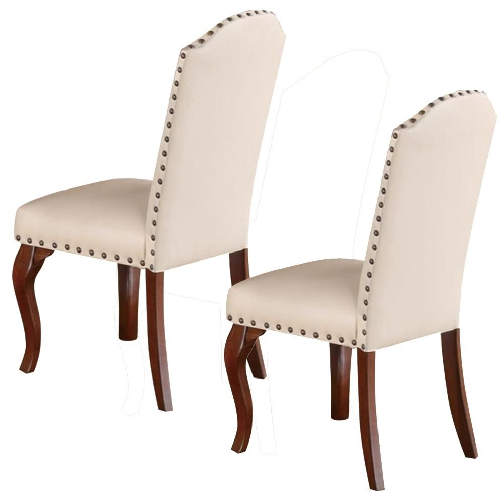 Benjara Commendable Cream Rubber Wood Faux Leather Dining Chair