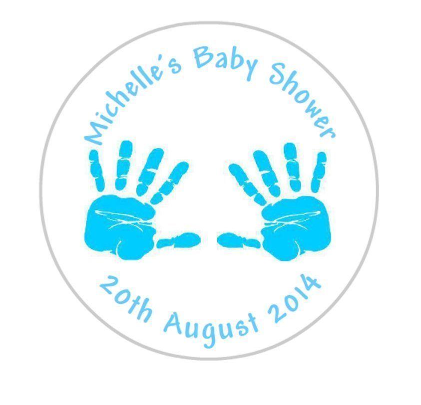 £1 4 gbp 24 personalised round baby shower stickers labels blue handprints ebay home garden