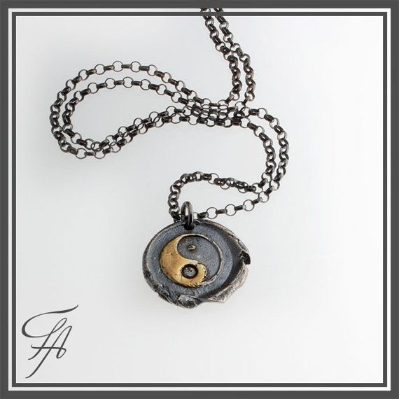 Wax Seal Yin  Yan Stamped Necklace Pendant in by FutureArtJewelry,