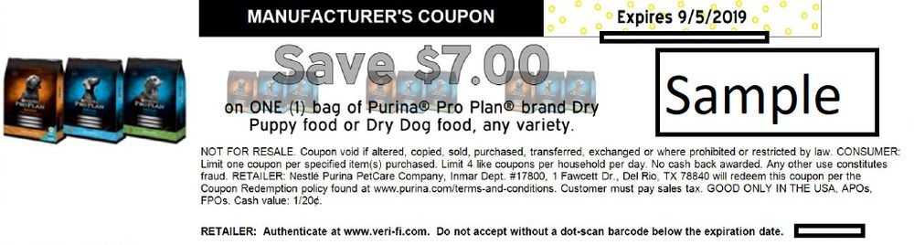 1 Purina Pro Plan Dog Food Or Puppy Food Coupon 7 00 Off Bag