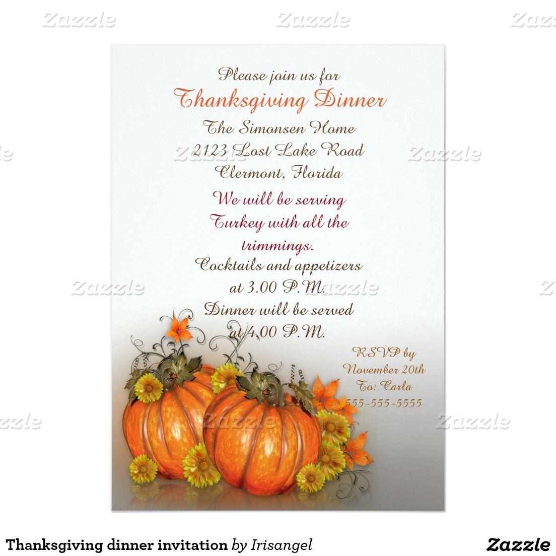 Thanksgiving dinner invitation Thanksgiving