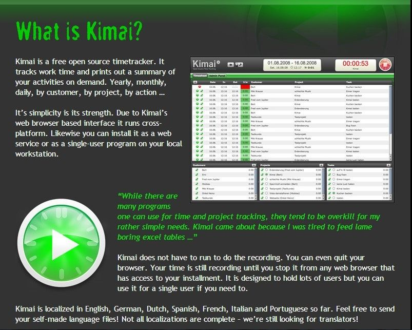 Kimai - Open Source Time-Tracking timesheet Pinterest Open - monthly time sheet calculator
