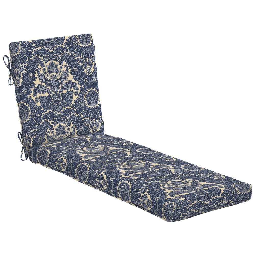 Hampton Bay Chelsea Damask Outdoor Chaise Lounge Cushion Outdoor