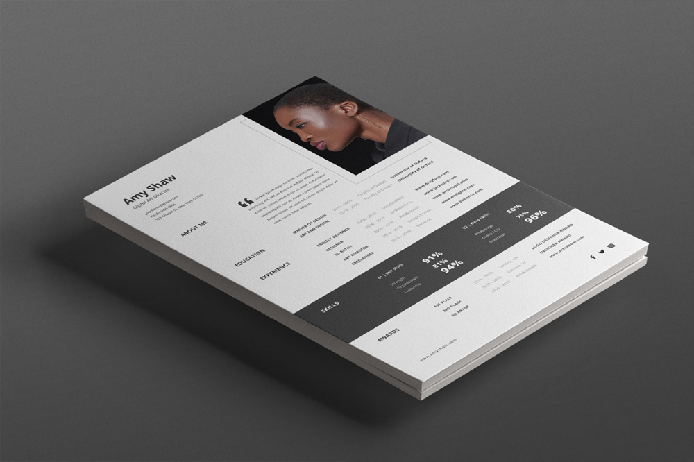 Monochrome Cv Template Projects Photos Videos Logos Illustrations And Branding On Behance Print Design Template Resume Template Graphic Design Pattern