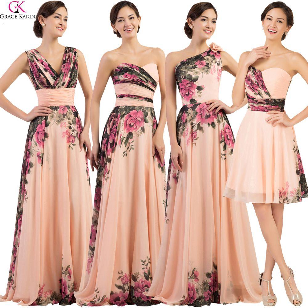 80652e83c2 Grace Karin Floral Flower Print Long Bridesmaid Dresses 2017 Chiffon Modest  Cheap Plus Size Wedding Bridesmaid Dresses Under 50-in Bridesmaid Dresses  from ...