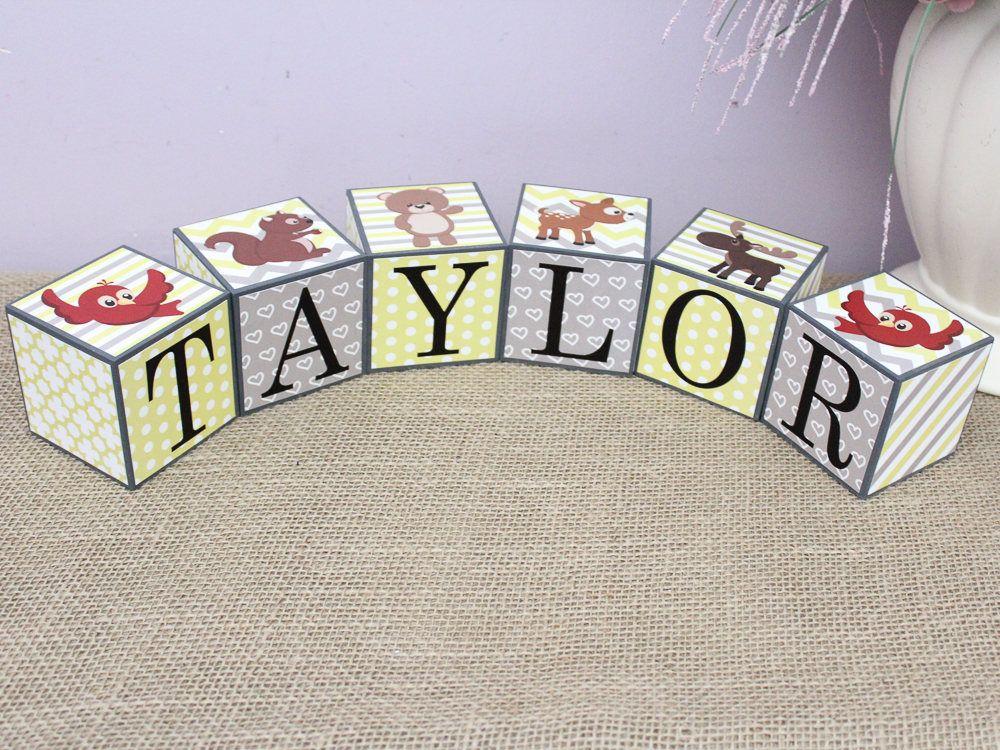 Woodland Decor, Baby Name Sign, Baby Name Wood Blocks