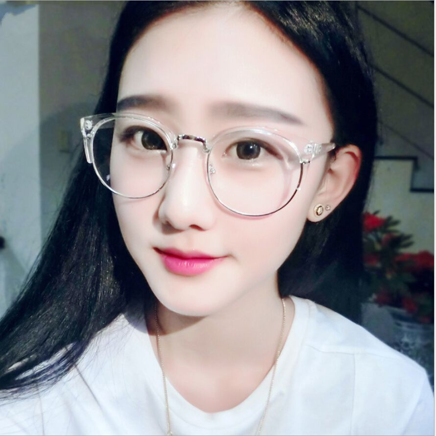 case free retro round transparent glasses frame for women cat eye eyeglasses frame nerd clear eyeglass