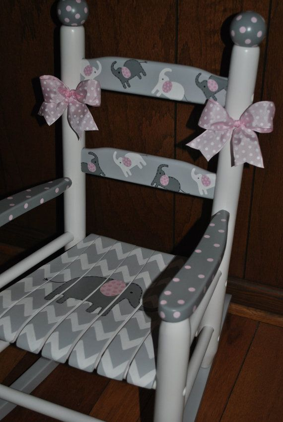 MAKE A LITTLE GIRLS NURSERY SOMETHING SPECIAL Hand Painted Childrens  Rocking Chair. Solid Wood Construction