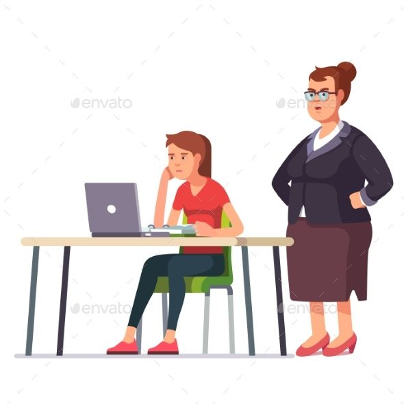 Boss Woman Looking at Exhausted Employee Fonts-logos-icons