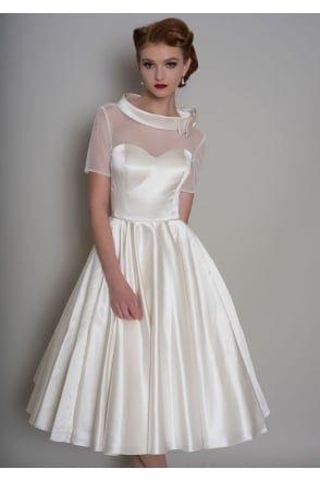 Hattie Tea Length Satin 1950s Short Wedding Dress With Sleeves