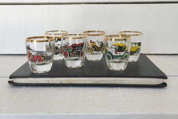 Shot Glasses Classic Cars Set of Six by #Ruhrglas c1950  Wonderful set of six sh…