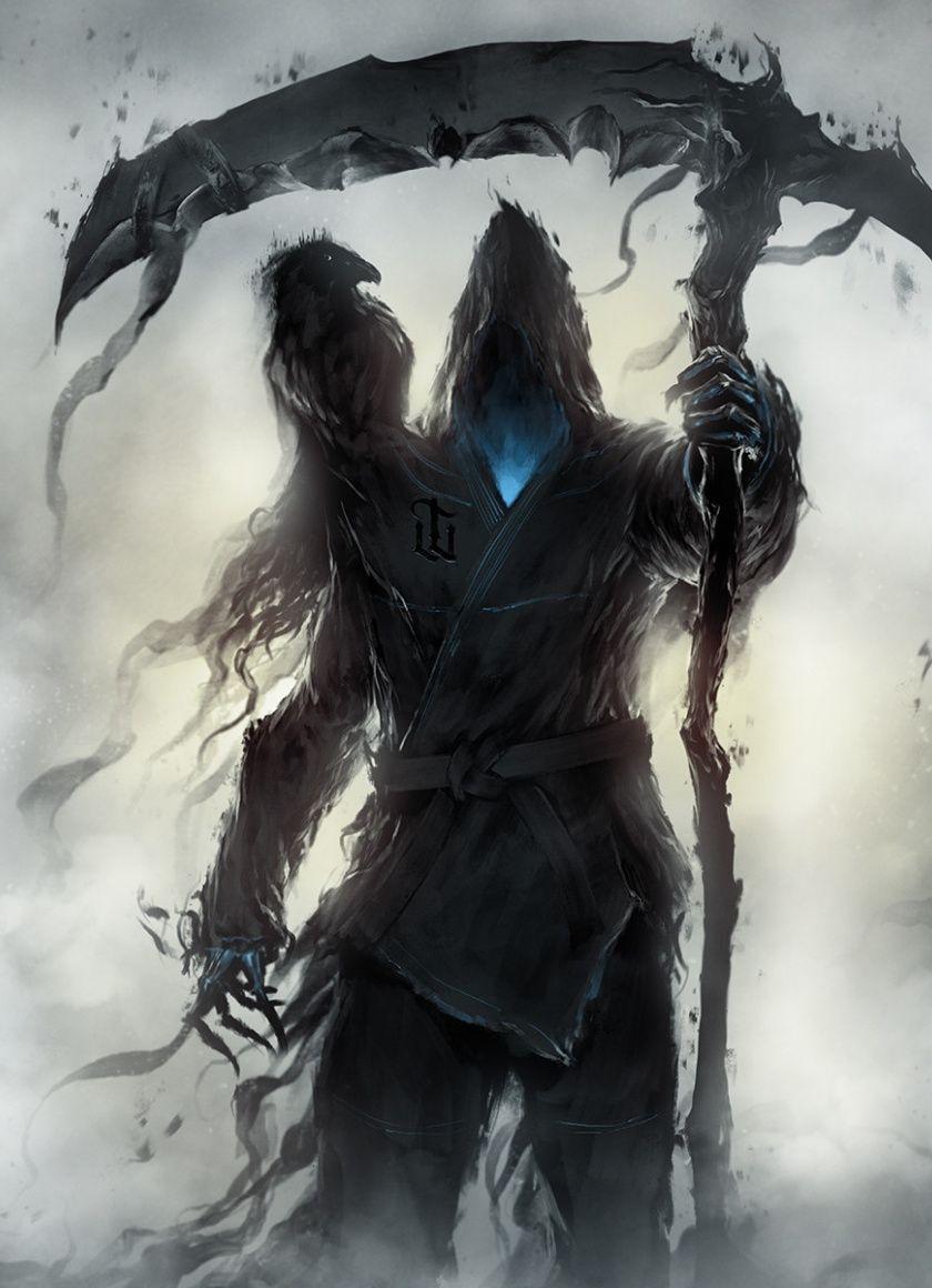 Fantasy, Grim Reaper, raven, dark, 840x1160 wallpaper