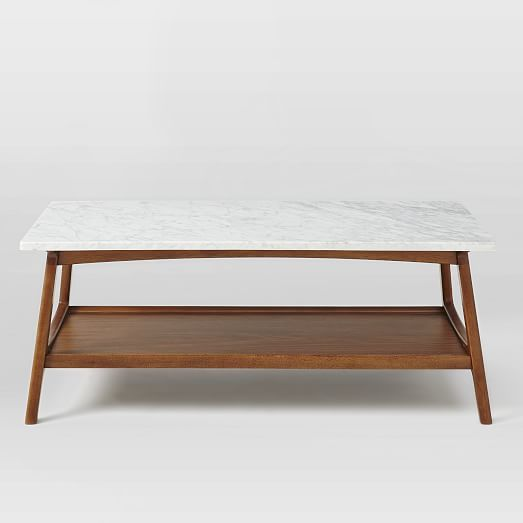 Harvey Probber Marble Top Rectangular Coffee Table W: Reeve Mid-Century Rectangular Coffee Table