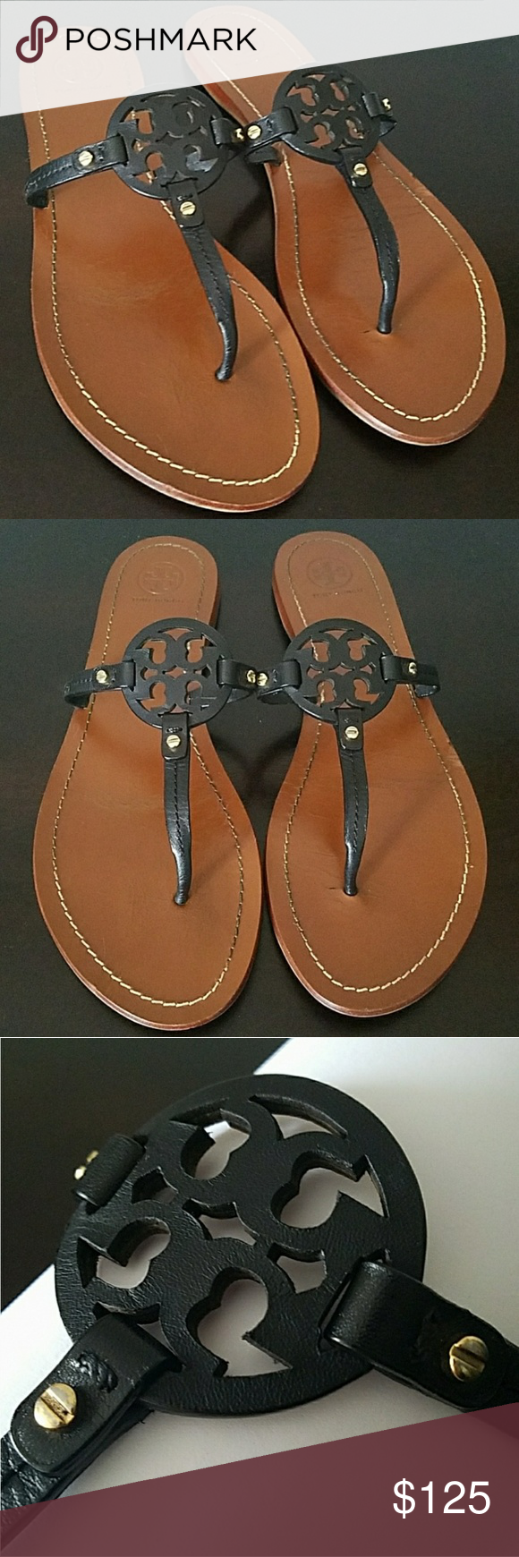 082d09e126fa Tory Burch Mini Millers Sandles Authentic Tory Burch mini Miller sandals in  great pre-loved condition as shown in pics. Black leather upper and tan  footbed.