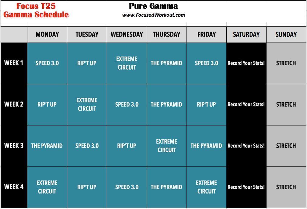 Workout Calendar T25 : T gamma calendar focus quot operation