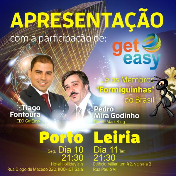 """Hoje no Porto e amanhã em Leiria a não perder uma grande apresentação da #GetEasy com a presença do nosso CEO Tiago Fontoura e do nosso Director de Marketing Pedro Mira Godinho. Vamos ainda contar com os nossos ilustres Membros """"Formiguinhas"""" !"""