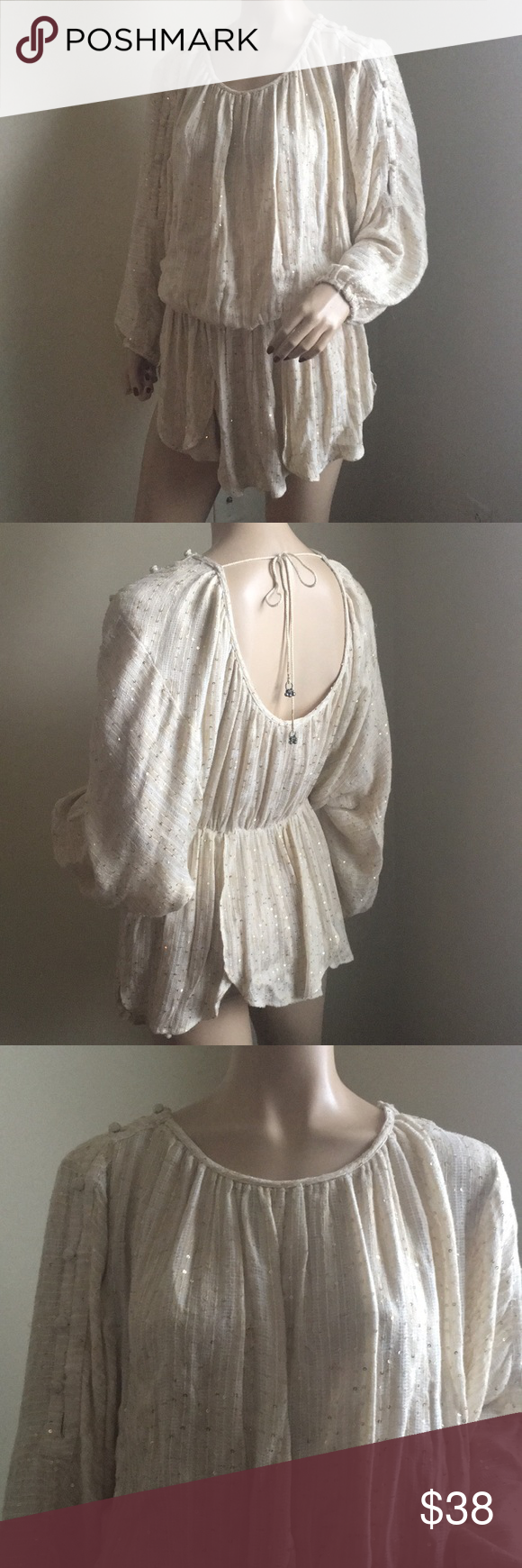 bc43dfc9589 Free People NWOT sequin Boho Tunic XS Beautiful Bohemian tunic from Free  People . Fabric is lightweight gauze in off white with shimmering gold  threads and ...