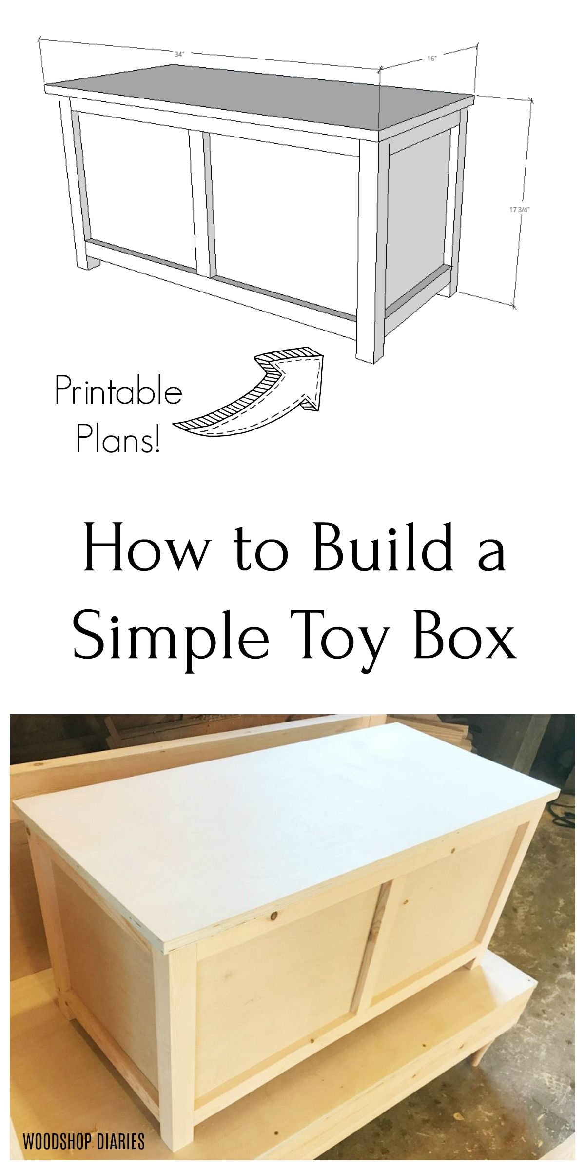 DIY Toy Box--Printable Plans--EASY Building Project