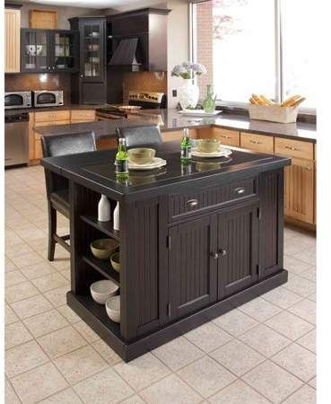 Home Styles Nantucket Island and 2 Stools, Distressed Black