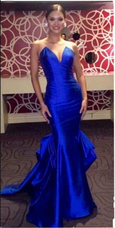 Elegant Royal Blue Evening Gowns Sheer Neck Sleeveless Satin Mermaid ...