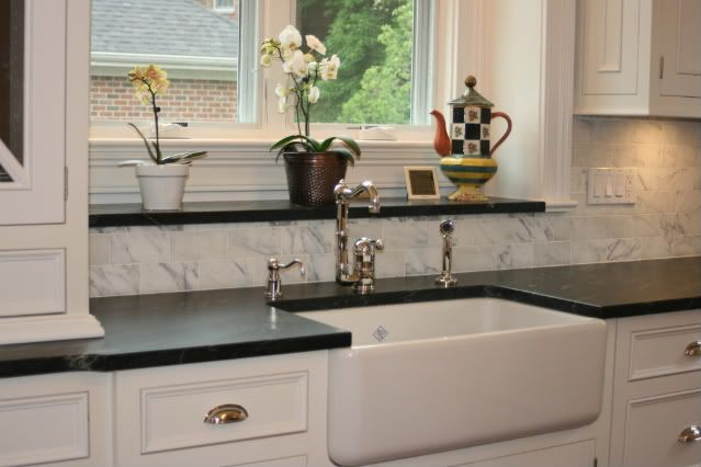 Statuary Marble Backsplash Aqua Grantique Counter And Rohl 30