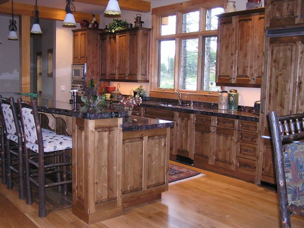 RUSTIC Kitchen WITH DARK KNOTTY ALDER CABINETS