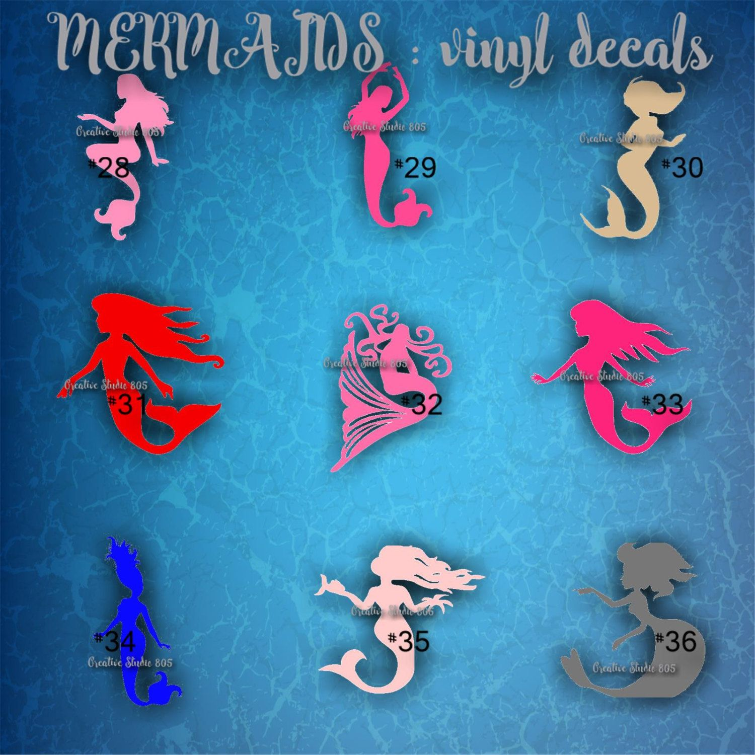 MERMAID Vinyl Decal Water Bottle Decal Car Decal Car - Mermaid custom vinyl decals for car