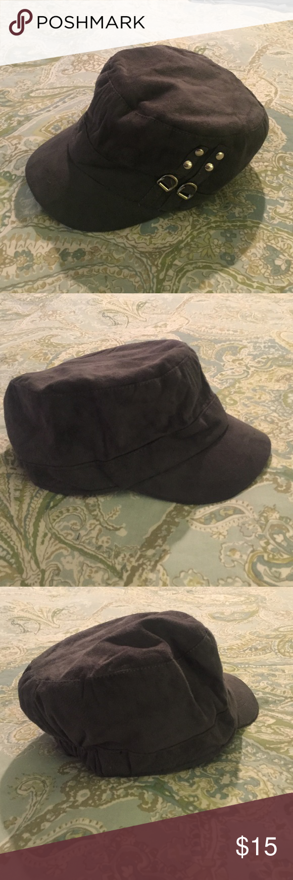 Adorable Gray Hat w/ Silver Buckles Adorable velvety soft gray hat w/ silver buckles - 100% polyester. Purchased at a boutique, brand inside says D&Y. Like new!! Urban Outfitters Accessories Hats
