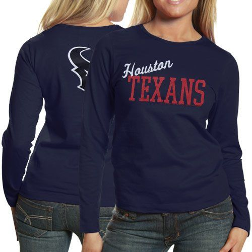 Houston Texans Ladies Game Day Long Sleeve T-Shirt - Navy Blue ... 8e1a17c36