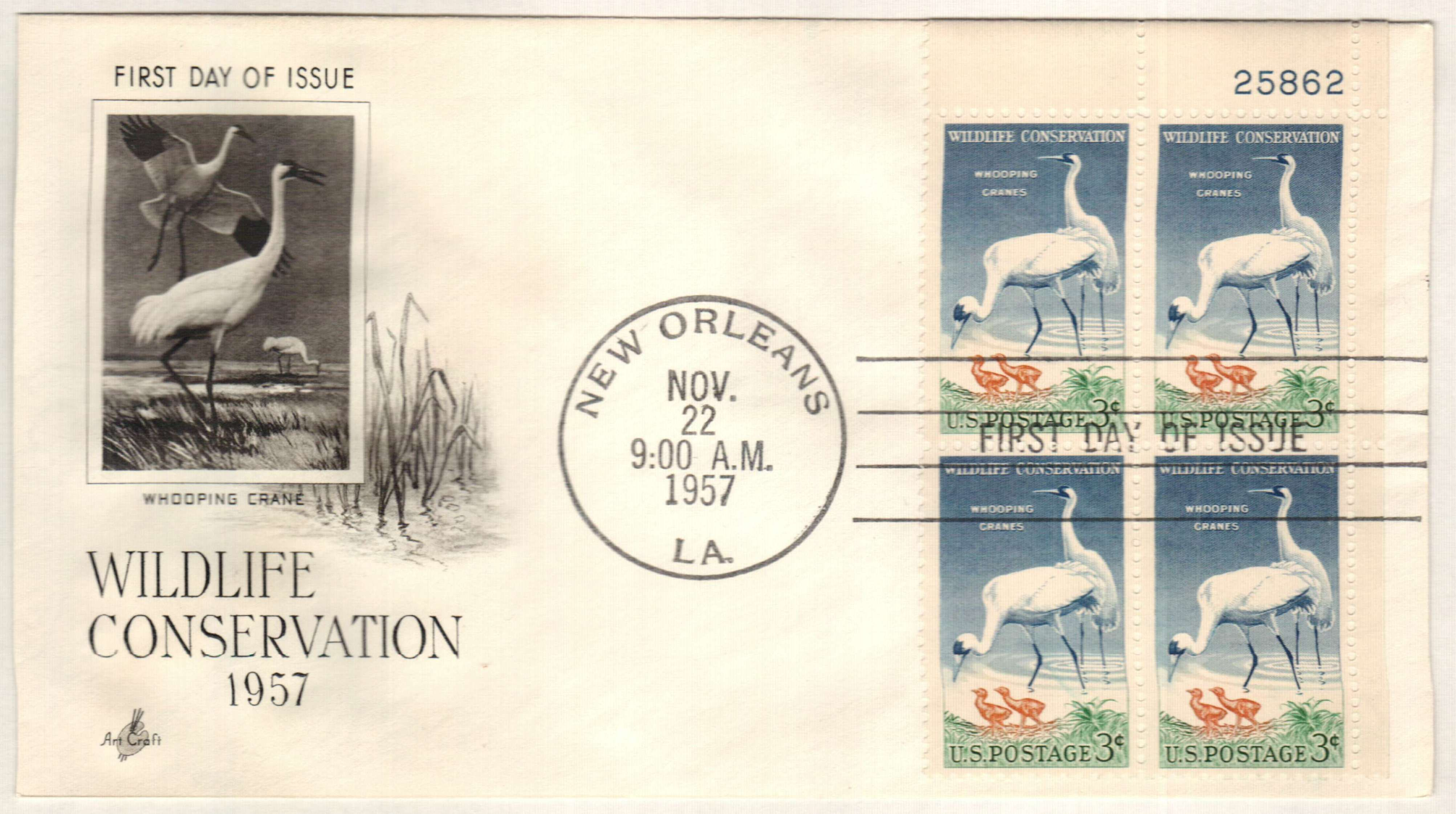 USA 1957 3c Whooping Cranes First Day Cover Plate Block
