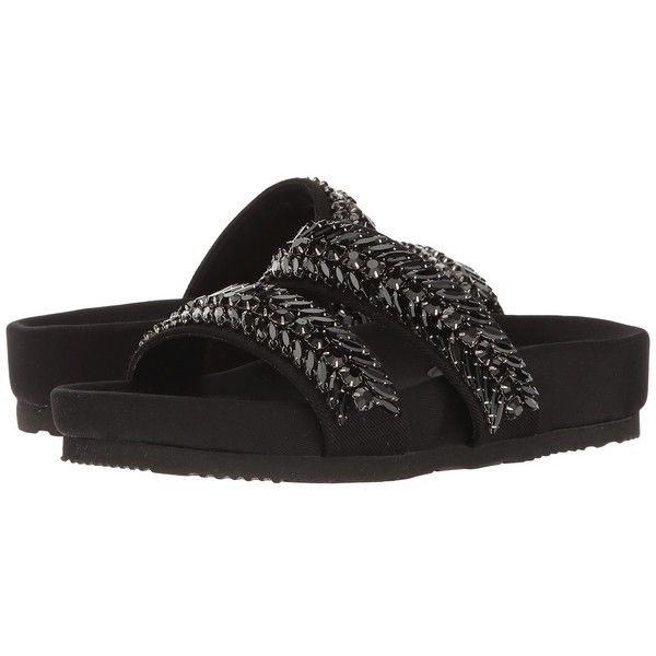 Suecomma Bonnie Jewel Detailed Flat Sandal (Black) Women's Sandals ($425) ❤  liked