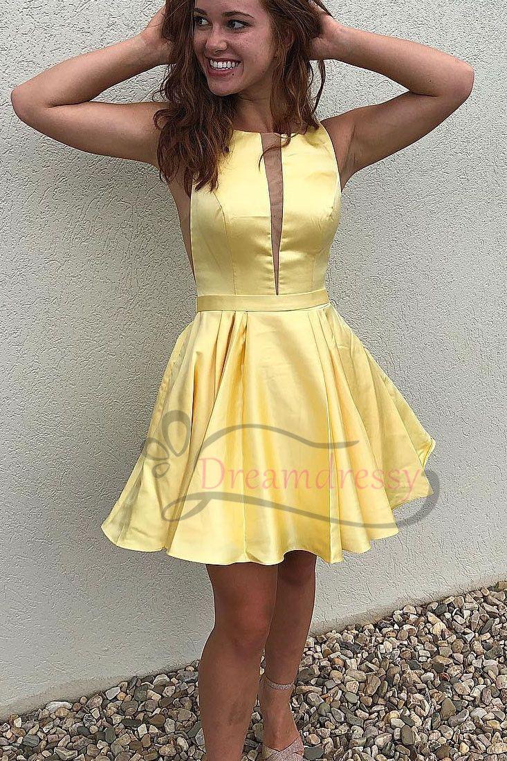 Cute aline short yellow homecoming dress pinterest short