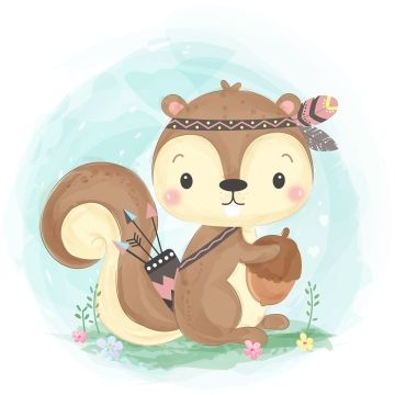Adorable Animal Baby Shower Cartoon Character Child Children Colorful Cute Cute Animals De Squirrel Illustration Cute Animal Illustration Nursery Animal Prints