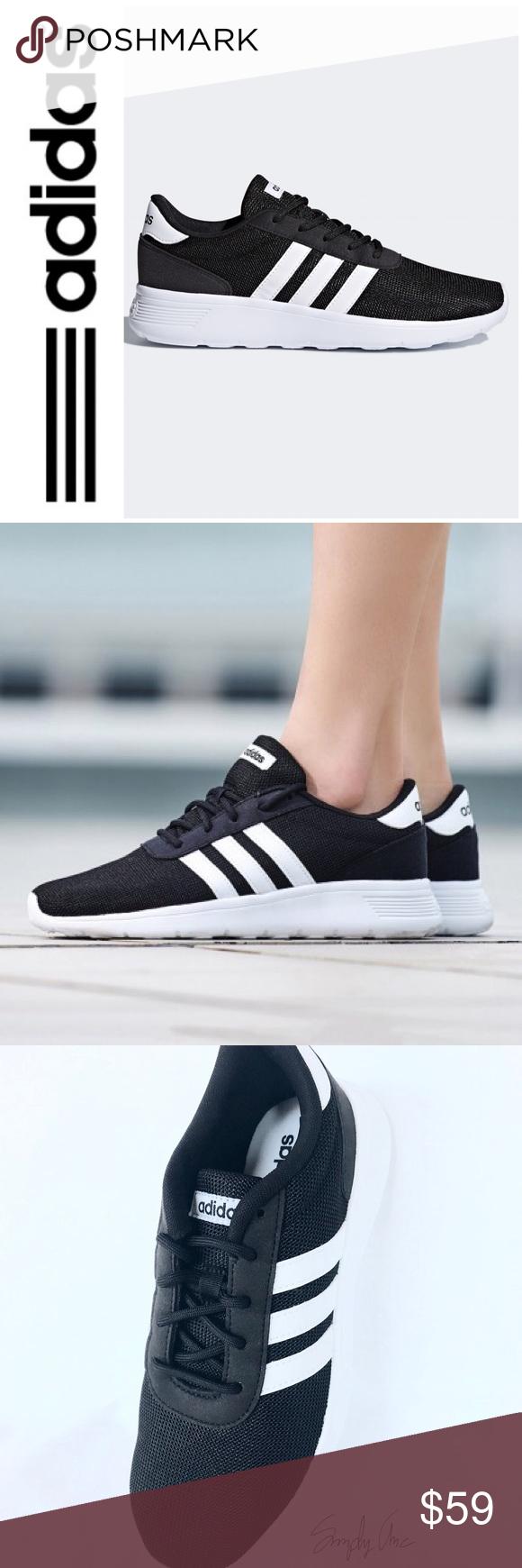 New Adidas lite race shoes black white