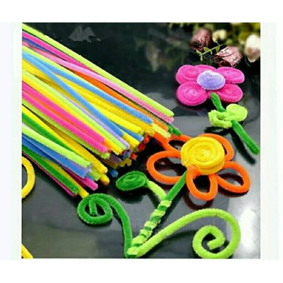 100PCS 30cm Colored Chenille Stems Pipe Cleaner Bar Hand DIY Kids Education Toys