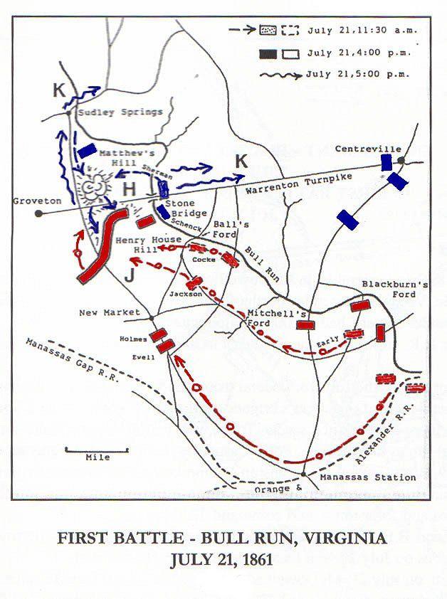 First Bull Run Civil War Battle Map The War Of Northern - Antietam battle us map