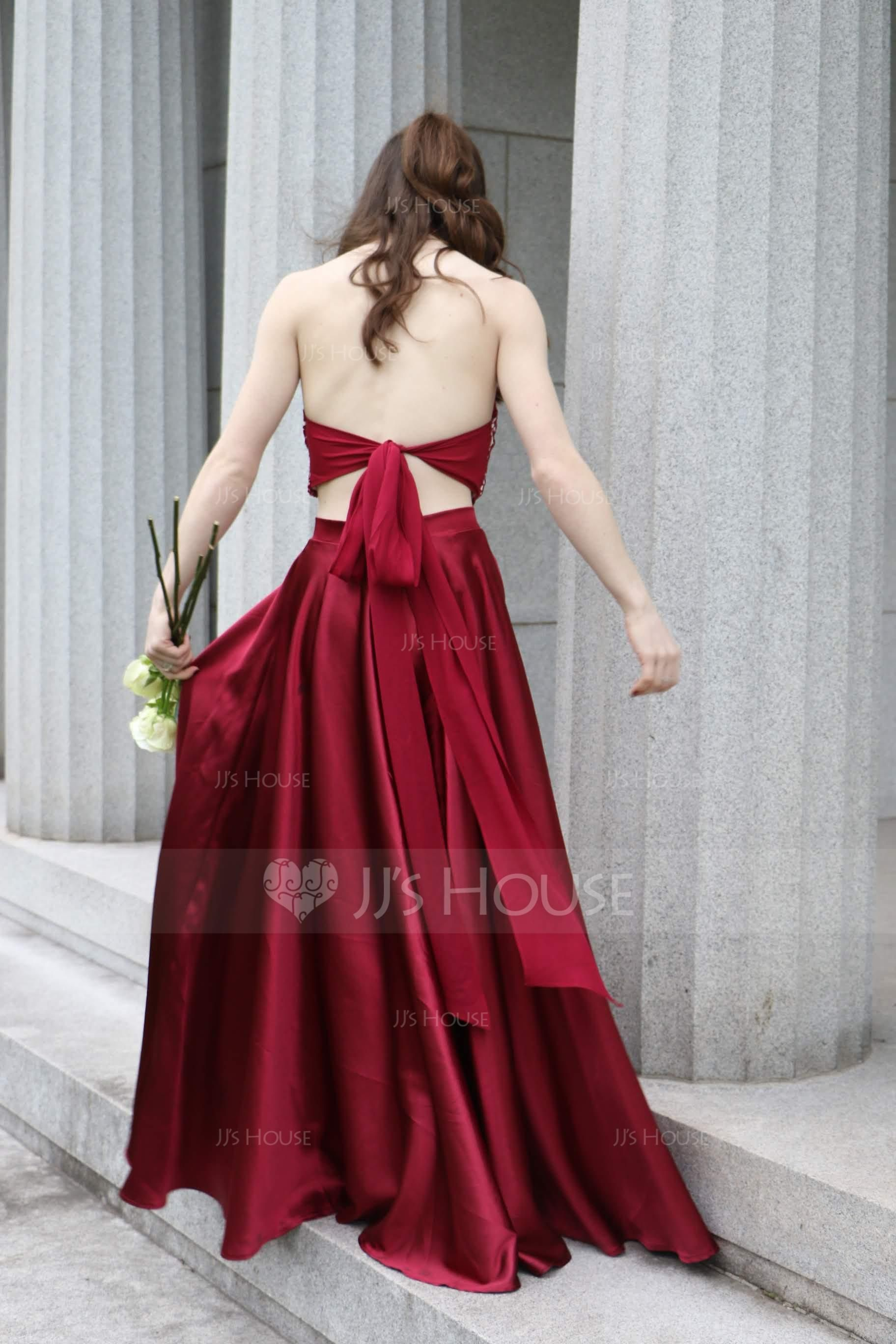 Alineprincess halter sweep train satin prom dresses with beading