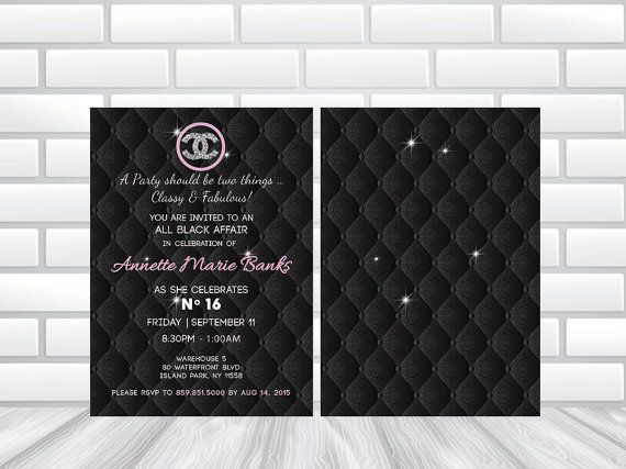 Hi Res - Chanel Theme Invitation - (DIGITAL DOWNLOAD DIY) or Printed  Chanel Themed Party Invitation. This invitation background can be used for any event. Create your own wording!  Available as a print-yourself PDF, JPEG file, or professionally printed invitations with envelopes delivered to you.  ** DIGITAL FILE ** * Personalized with your party details * Emailed to you as a high quality pdf or jpeg file * Print as many as you need at home or your local printer - 4 x 6 flat PDF file for…