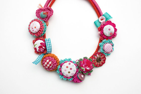 Pink fiber necklace textile and crochet jewelry by rRradionica