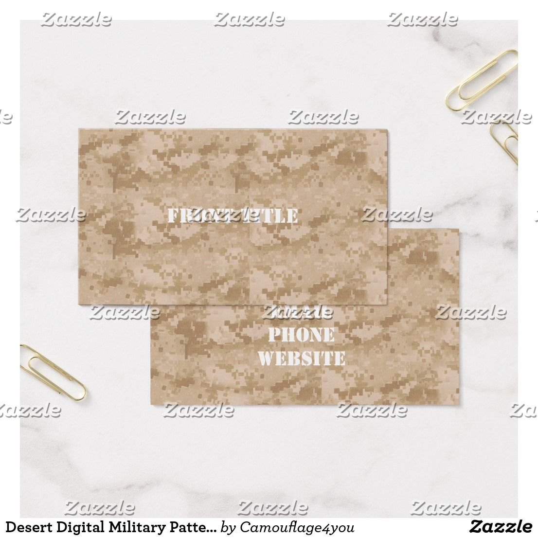 Desert digital military pattern business card by camouflage4you desert digital military pattern business card by personalize with a name initials rank military base id or text message colourmoves