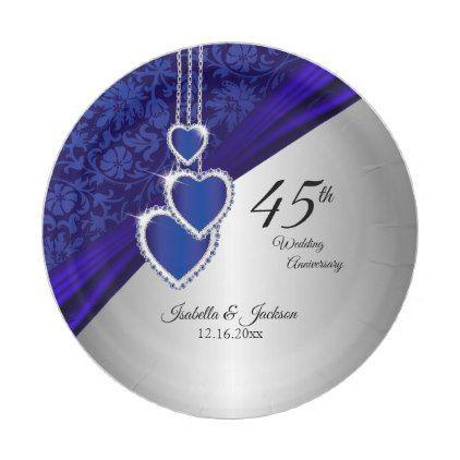 45th 65th Sapphire Wedding Anniversary Paper Plate Sapphire