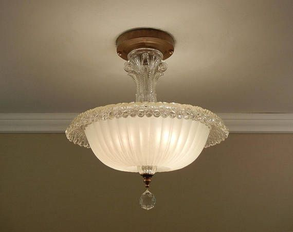 Vintage ceiling light 1930s art deco antique ivory cream rolled rim pressed glass semi flush mount fixture rewired