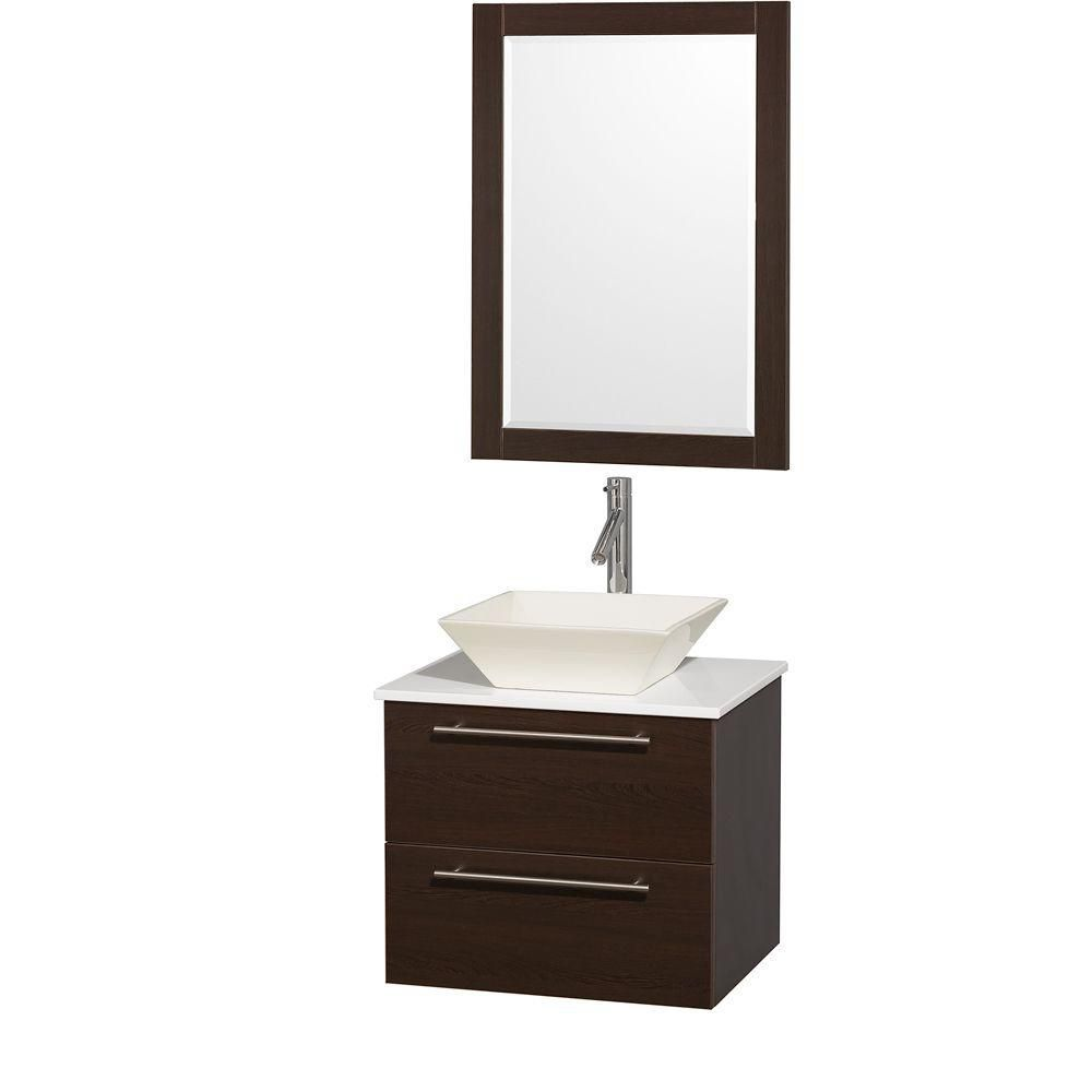Amare 24 Inch W Vanity In Espresso With Stone Top In White And