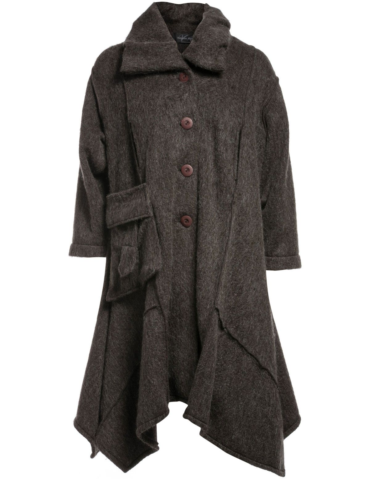 A Line Wool Coats | Vincenzo Allocca A-line wool coat in Dark ...