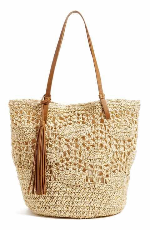 fbb03341a84a4 Nordstrom Crochet Straw Tote Örme Çantalar, Plaj Kaftanı, Tığ Işi Çanta,  Peri,
