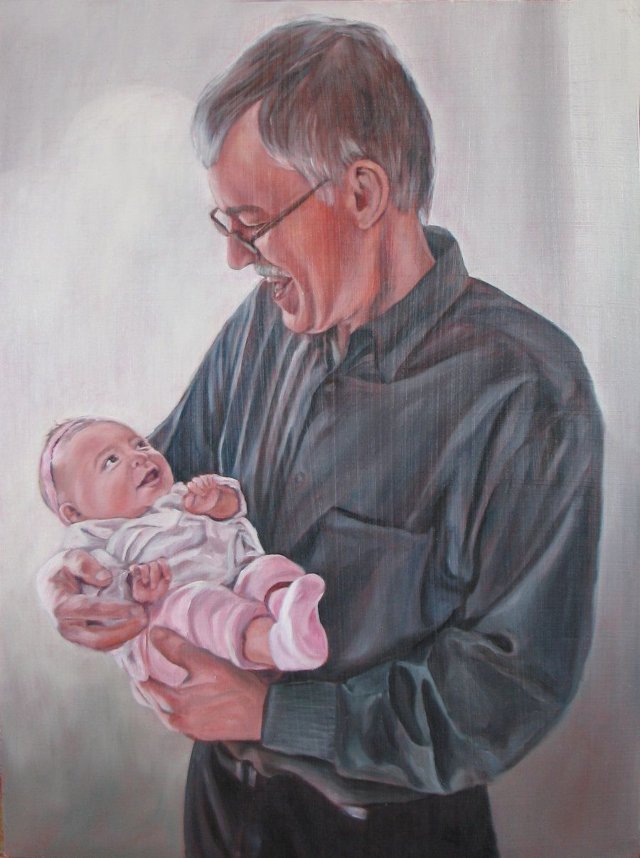 Grandfather And Granddaughter Custom Portraits Painting Grandpa