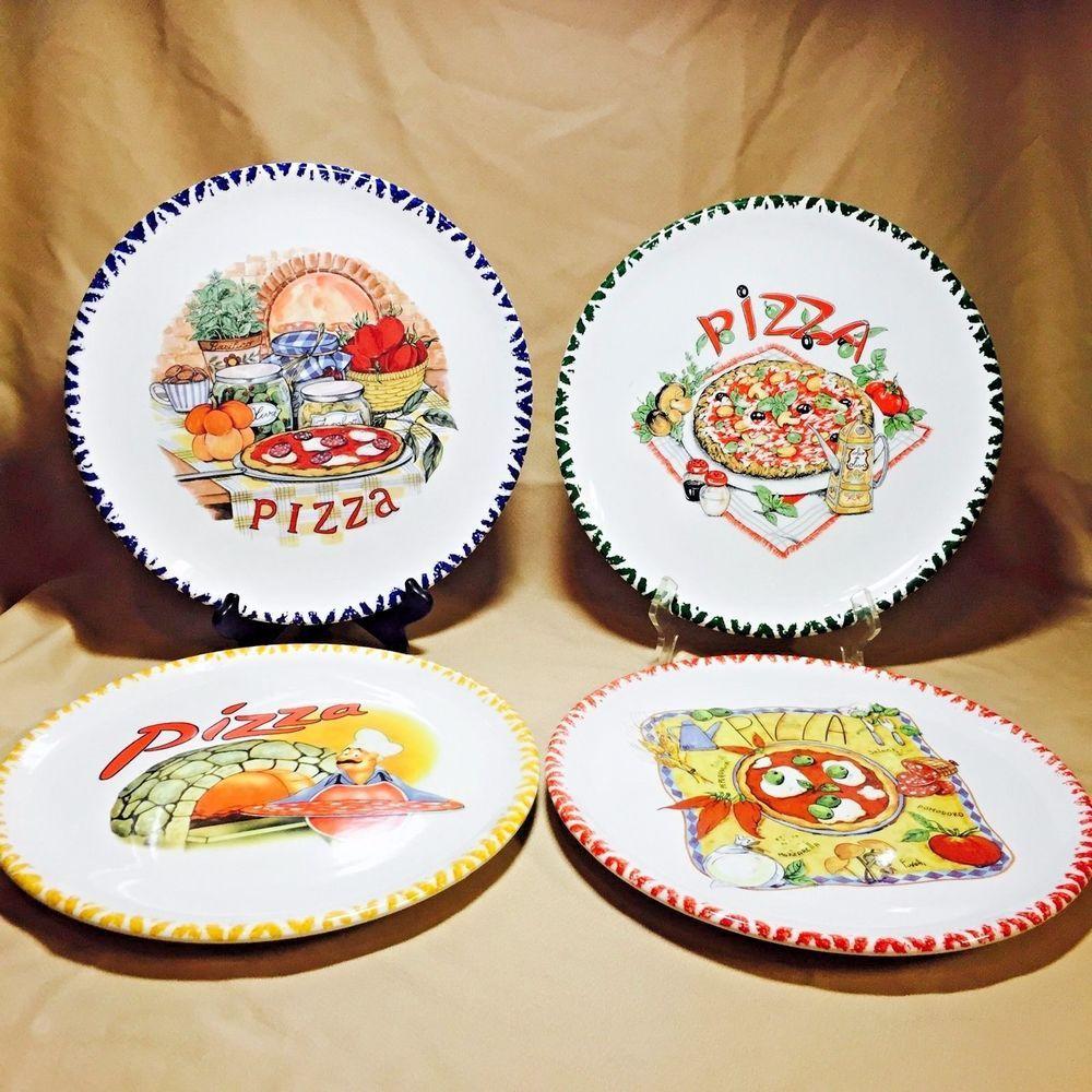 Set of 4 (Four) Italian Ceramic Pizza Plate 12\  - Choose from different Designs & of 4 (Four) Italian Ceramic Pizza Plate 12\
