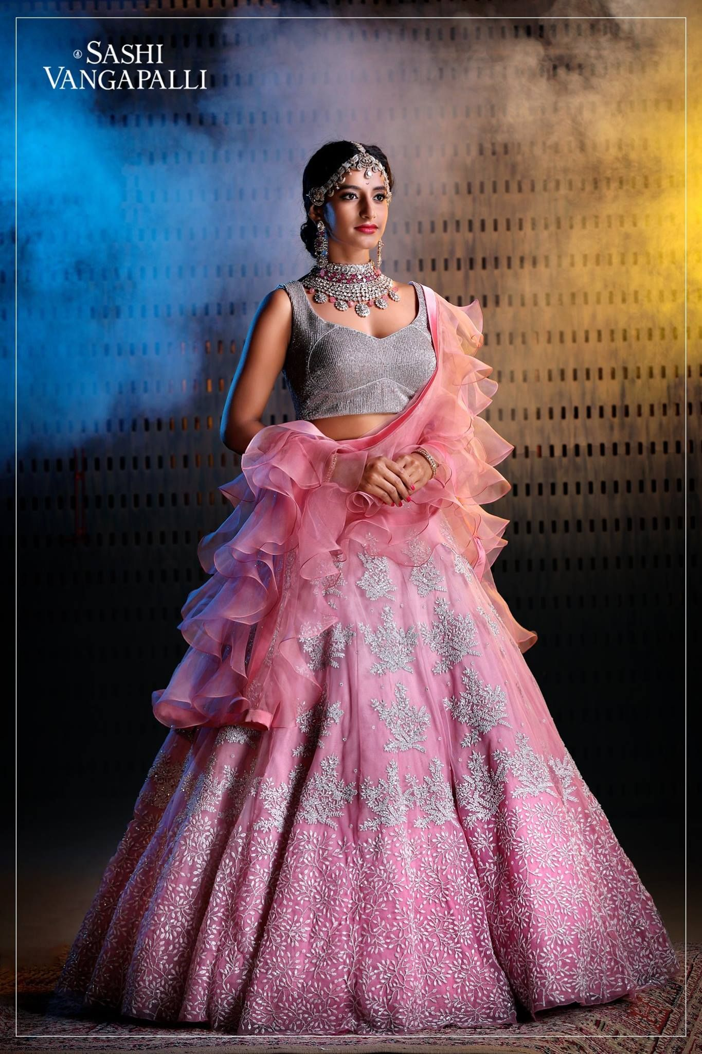 7f9008d03 Stunning blush pink color lehenga and sequence blouse with ruffle dupatta.  Lehanga with floral design hand embroidery pearl work. 06 December 2018